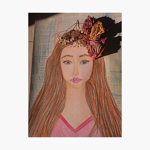 Beautiful Brunette With Flowers in Her Hair Photographic Print