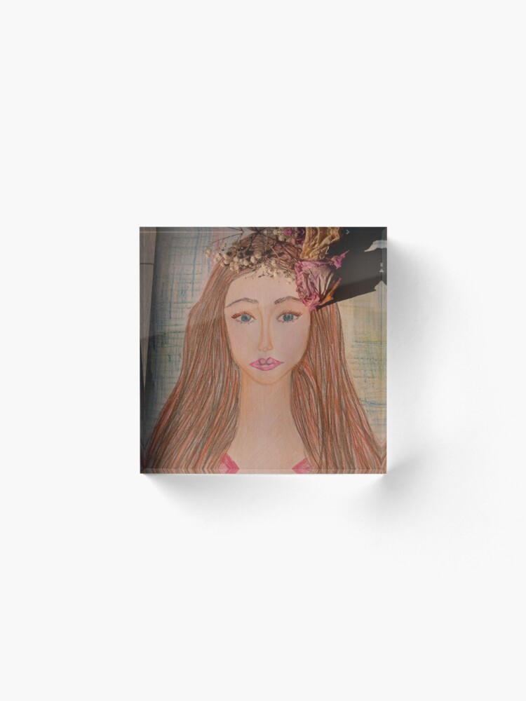 Alternate view of Beautiful Brunette With Flowers in Her Hair Acrylic Block