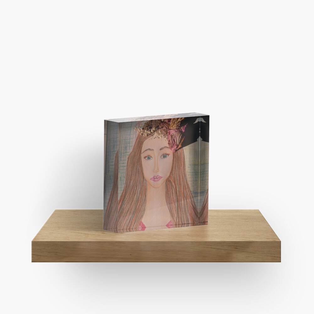 Beautiful Brunette With Flowers in Her Hair Acrylic Block