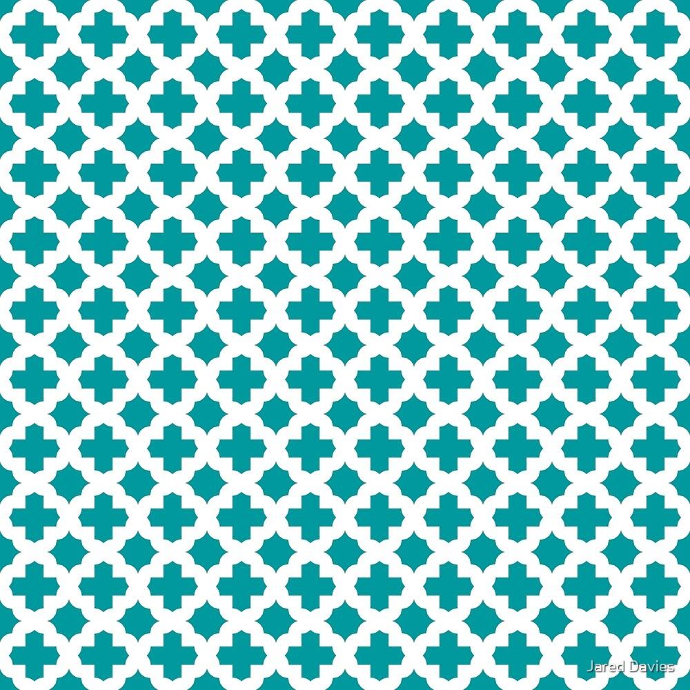 Blue, Teal: Quatrefoil Stars & Crosses Pattern by MilitaryCandA