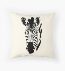Zebra Close-up in Graphic Pen and Ink Style Throw Pillow