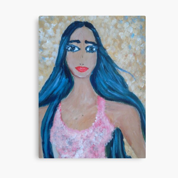 A Blue-haired Beauty Canvas Print