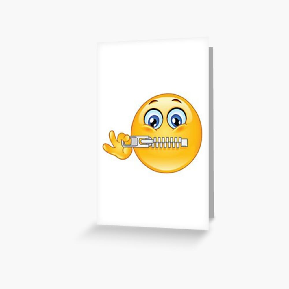 Zip it Be Quiet Emoji Greeting Card