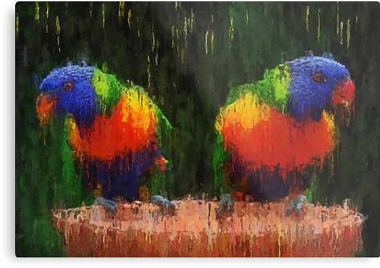Vibrant colorful parrots - canvas oil paint impressionism by Zenon Szczesny