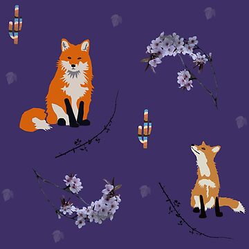Foxes on blue by chihuahuashower
