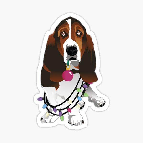 Basset Hound and Christmas Decorations Dog Illustration Sticker