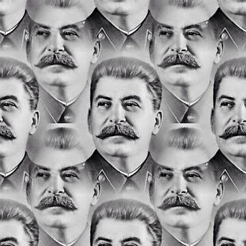 Joseph Stalin Repeat Pattern Portrait - Grey by JAMESWOODFORD