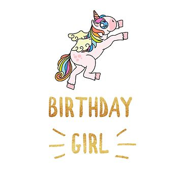 Awesome Unicorn Birthday Girl Gold Bling Design #19 by 198tees
