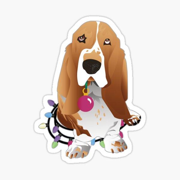Lemon Basset Hound and Christmas Decorations Dog Illustration Sticker