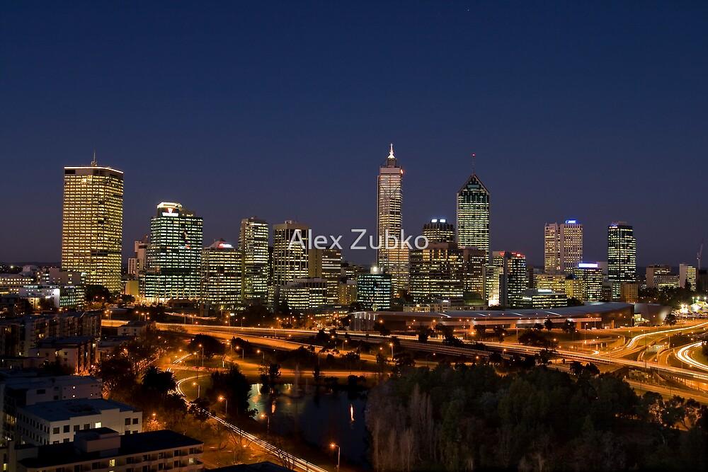 Perth skyline at dusk 2 by Alex Zubko