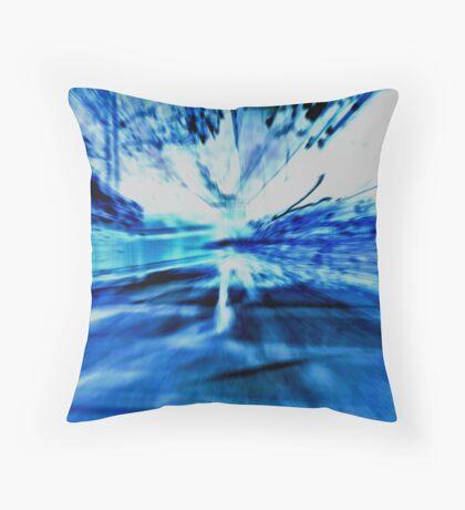 Blue Light Show Throw Pillow