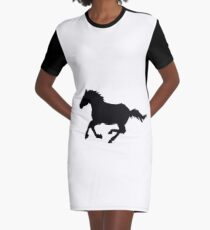 Horse Silhouette  Graphic T-Shirt Dress