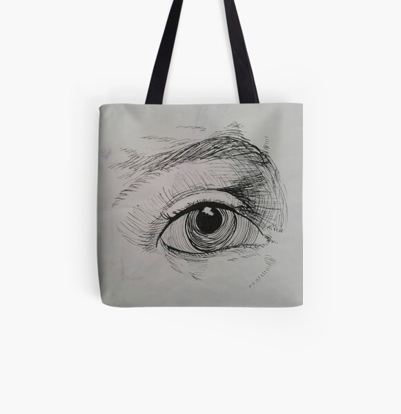 Ink drawing of an eye All Over Print Tote Bag