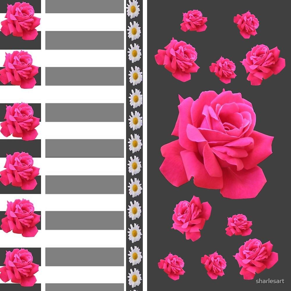 GREY & WHITE PINK ROSES ABSTRACT  by sharlesart