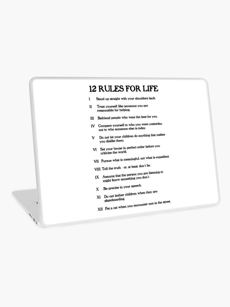 Centro de producción rock despensa  Vinilo para portátil «12 reglas para la vida - Jordan Peterson» de  LibertyTees   Redbubble