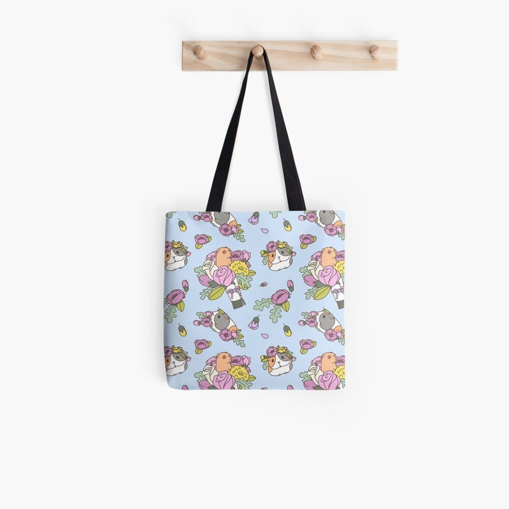 Flowers and Guinea pig pattern, spring floral Pattern  Tote Bag