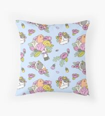 Flowers and Guinea pig pattern, spring floral Pattern  Throw Pillow