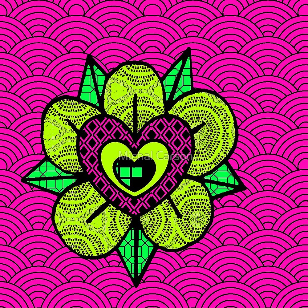 pink and green flower wave pattern by UpNorthInk