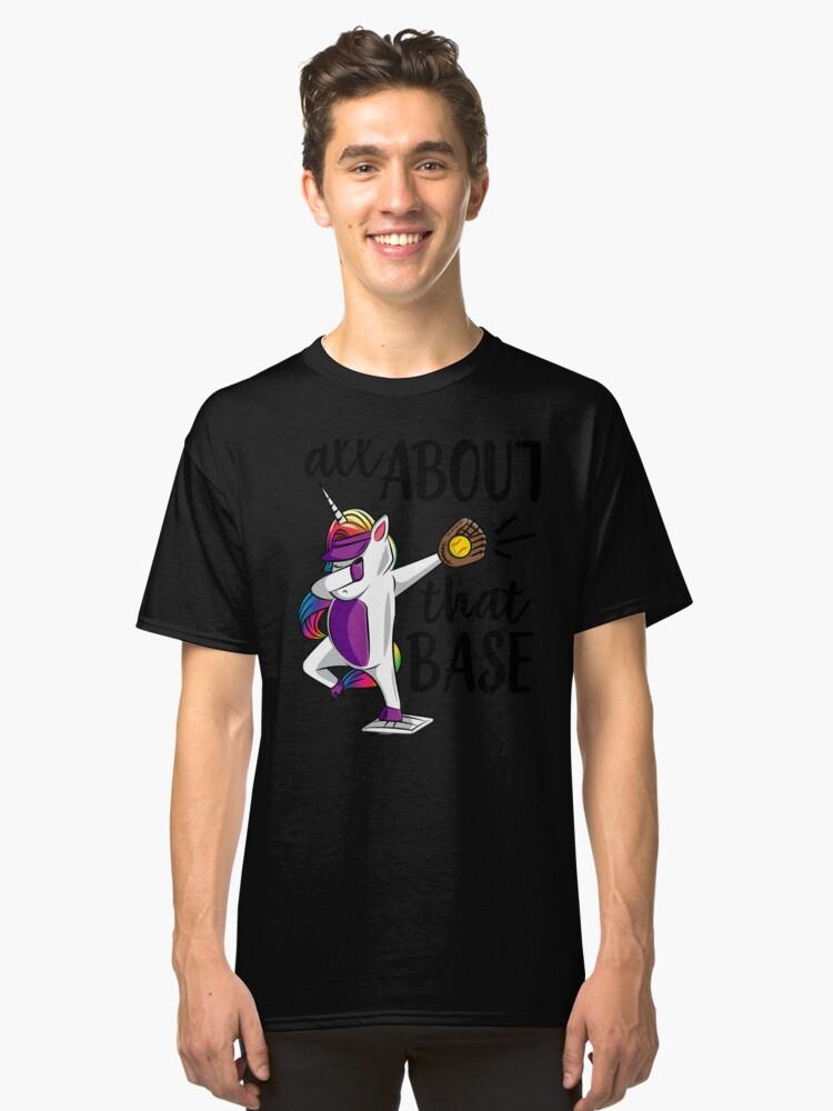 Softball Dabbing Unicorn Girls Softball Dab Softball Gift All About That Base Black Classic T-Shirt Front