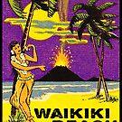 Waikiki Beach Hawaii Vintage Hula Volcano Beach Ocean Palm Trees by MyHandmadeSigns