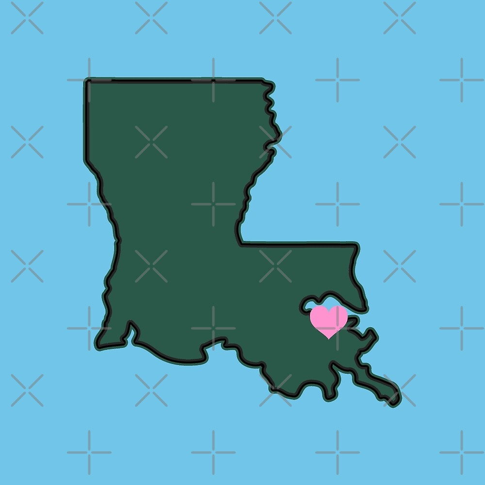 Tulane Heart Map Louisiana NOLA New Orleans State Outline Roll Wave  by hypecollege