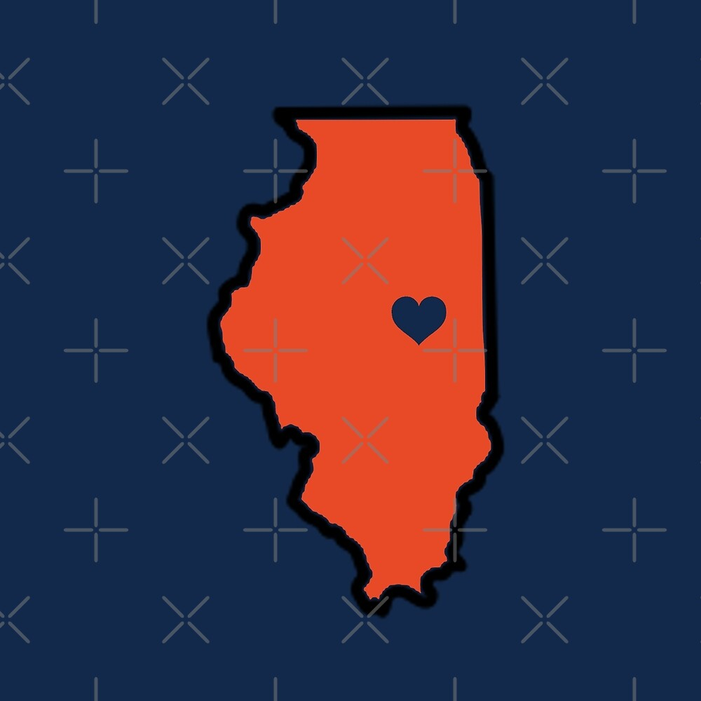 University of Illinois Urbana Champaign UIUC Illinois Heart Outline State Map Illini  by hypecollege