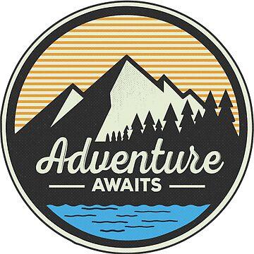 Adventure Awaits - Mountain Hiking Sticker by ericbracewell