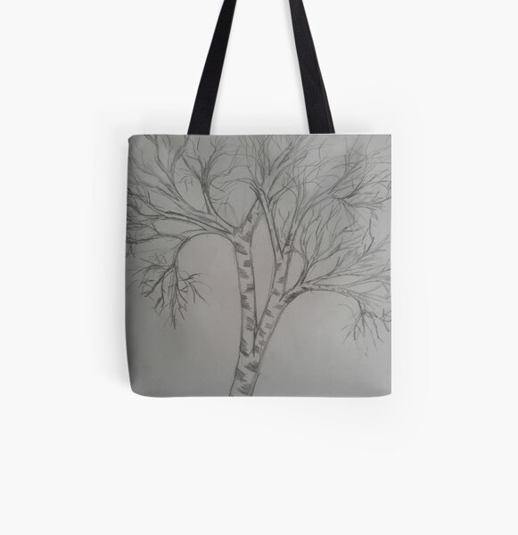 Drawing of birch tree All Over Print Tote Bag