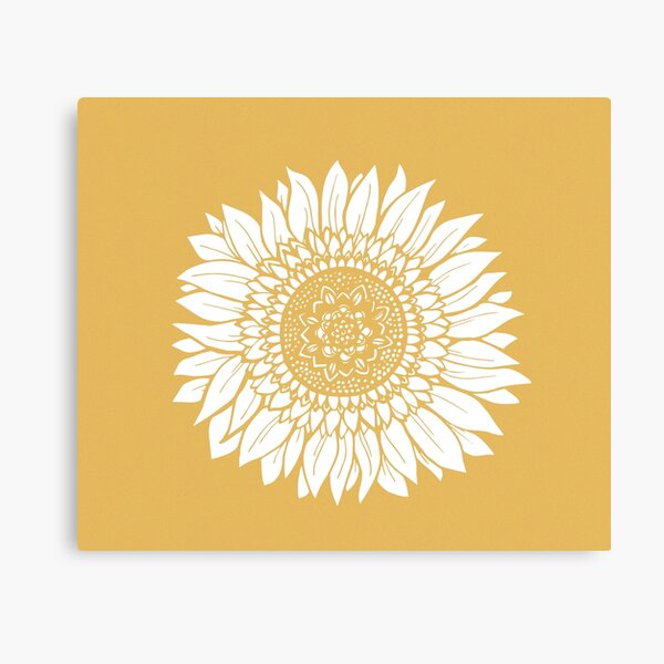 Yellow Flower Drawing Tapestry Canvas Print