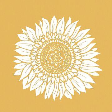 Yellow Flower Drawing Tapestry by aterkaderk