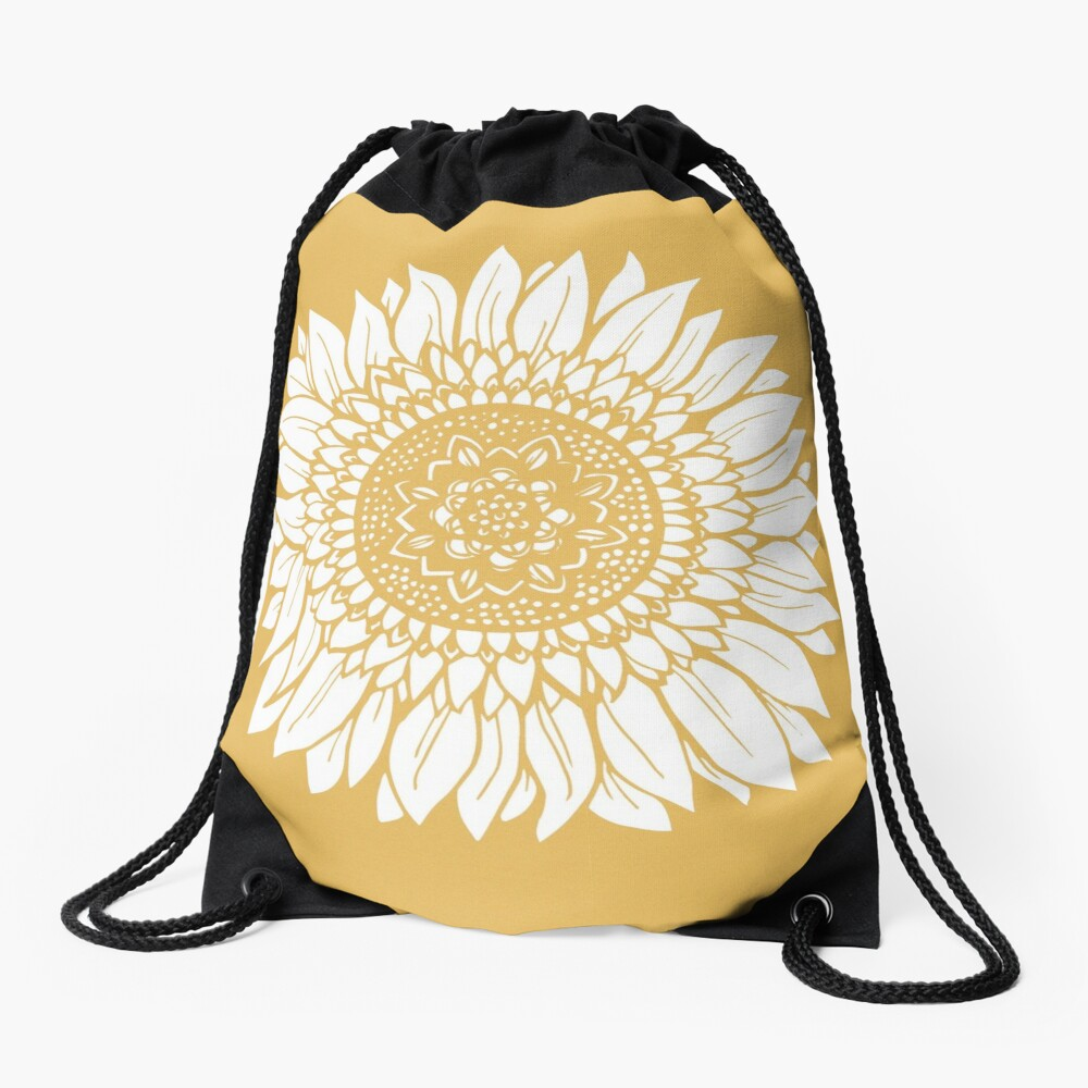 Yellow Flower Drawing Tapestry Drawstring Bag