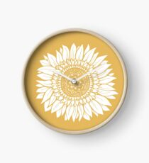 Yellow Flower Drawing Tapestry Clock