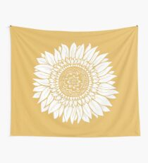 Yellow Flower Drawing Tapestry Wall Tapestry