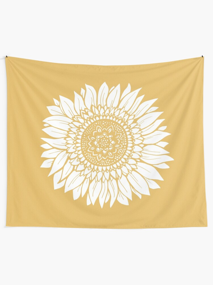 Alternate view of Yellow Flower Drawing Tapestry Tapestry