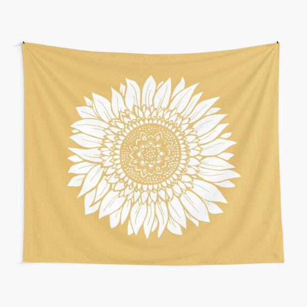 Yellow Flower Drawing Tapestry Tapestry