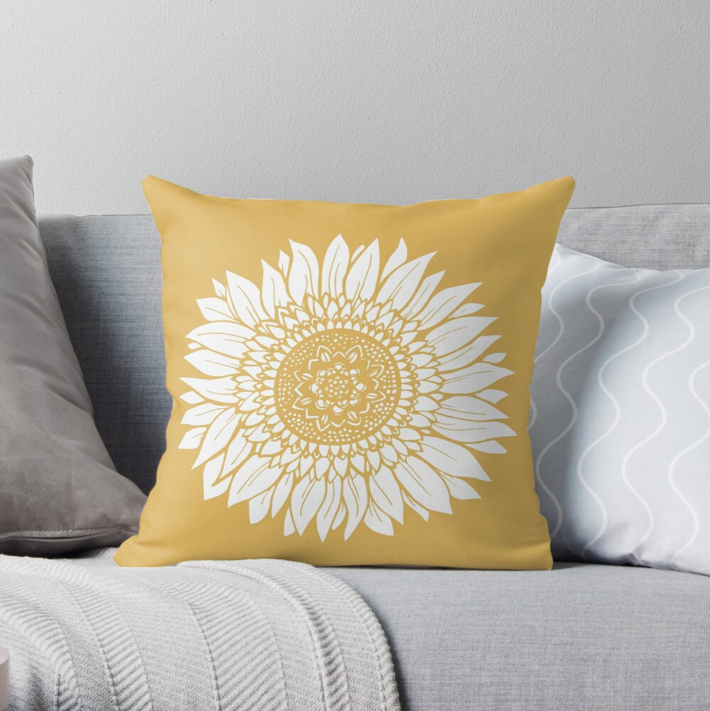 Yellow Flower Drawing Tapestry Throw Pillow