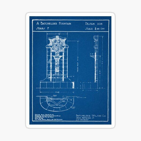 Batchelder Pottery Tile Fountain Blueprint  Sticker