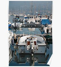 Boat at Trieste Harbour Poster