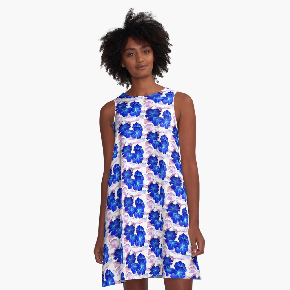 Bursts of Blue A-Line Dress
