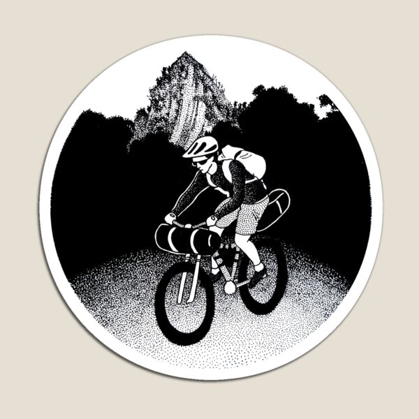 Bikepacking Pen and Ink Drawing Magnet