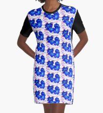 Bursts of Blue Graphic T-Shirt Dress