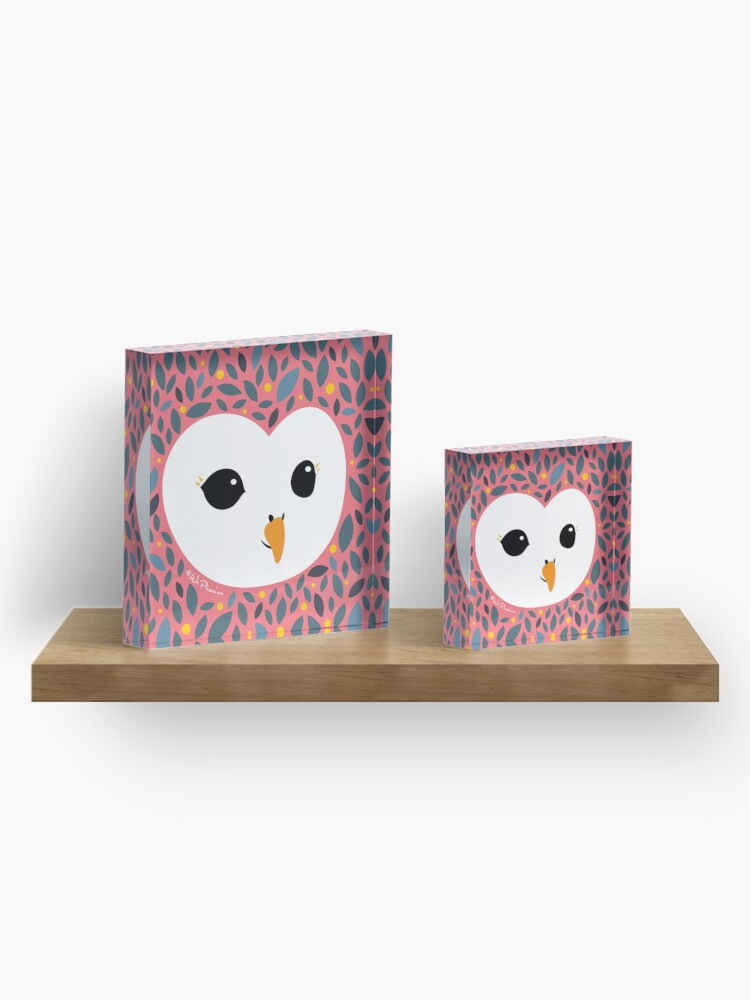 Alternate view of Adorable TAWNY OWL (Strix aluco) with background in PEACHY PINK Acrylic Block