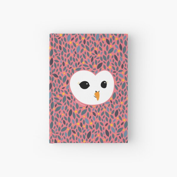 Adorable TAWNY OWL (Strix aluco) with background in PEACHY PINK Hardcover Journal