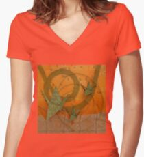 Horizontal Balance Women's Fitted V-Neck T-Shirt