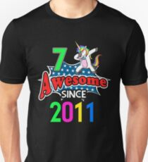 Dabbing Unicorn 7th Birthday Awesome Since 2011 Unisex T-Shirt