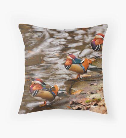 Mandarin ducks on the water Throw Pillow