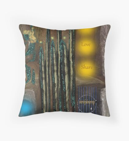Abstract, Smile, Love, Share Throw Pillow