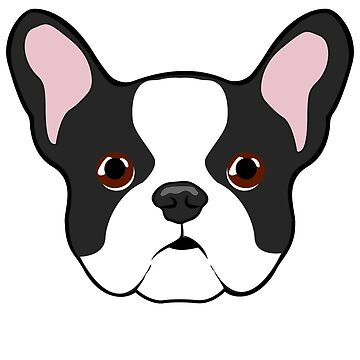 Adorably Cute French Bulldog Face Illustration by getagreatdeal
