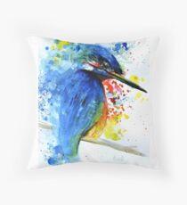 Watercolour Kingfisher Throw Pillow
