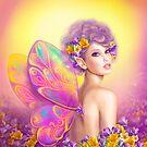 Feenhafter Schmetterling des schönen Mädchens am rosa und purpurroten Blumenhintergrund von Alena Lazareva